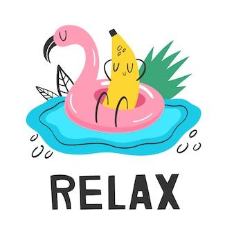 Banana no círculo de natação em férias