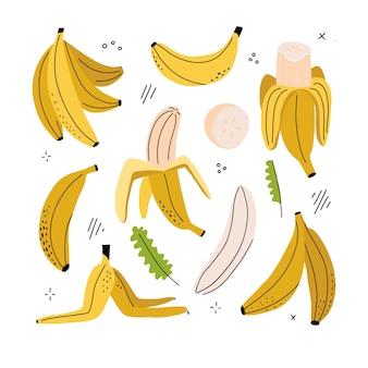 Banana, rodela de banana, banana descascada, casca de banana