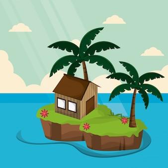Banana tropical ilha palmeira da ilha