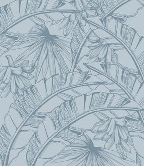 Bananas e folhas de palmeira padrão arte linha tropical. decorações exóticas de verão cartaz