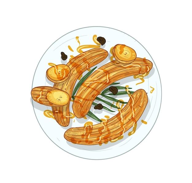 Bananas fritas desenhadas à mão Vetor Premium