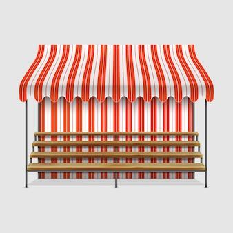 Banca de mercado com prateleiras de madeira