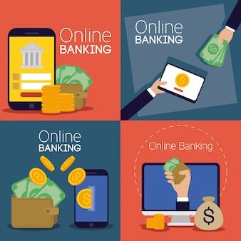 Banca de tecnologia on-line com dispositivos eletrônicos Vetor Premium