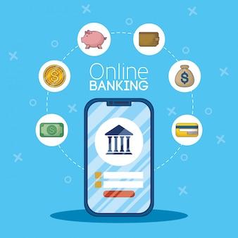 Banca de tecnologia on-line com smartphone