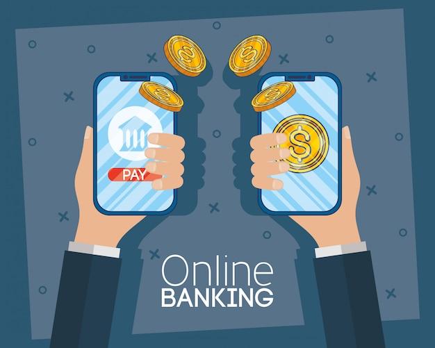 Banca de tecnologia on-line com smartphones