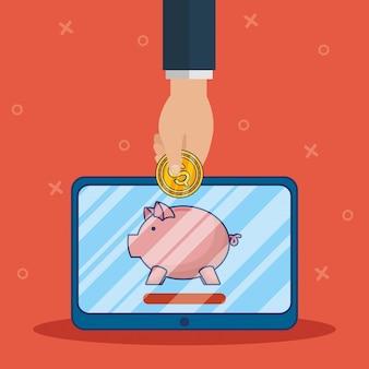 Banca de tecnologia on-line com tablet