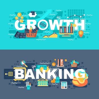 Banca e crescimento conjunto de conceito plana