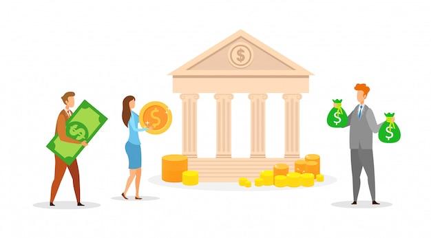 Banca, ilustração vetorial de transações em dinheiro