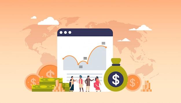Banca on-line dinheiro gráfico crescimento riqueza banner