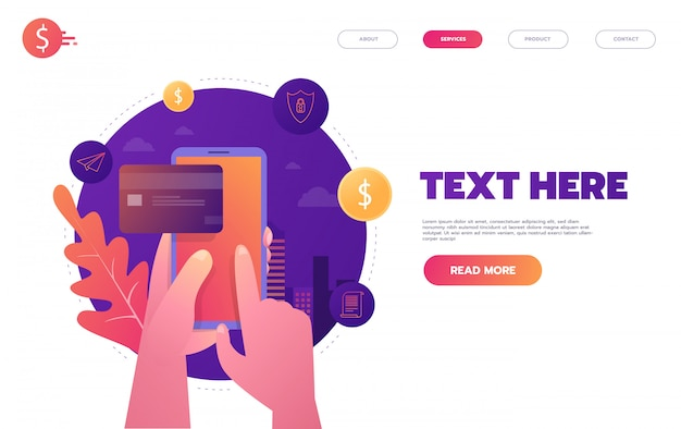 Banca on-line, pagamento móvel, pagamento por clique, conceito de transferência de dinheiro