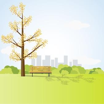 Bancada sob a árvore grande no parque da cidade, design de estilo de estilo plano