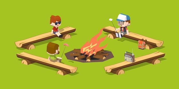 Bancadas de madeira de baixo poli em torno da fogueira Vetor Premium