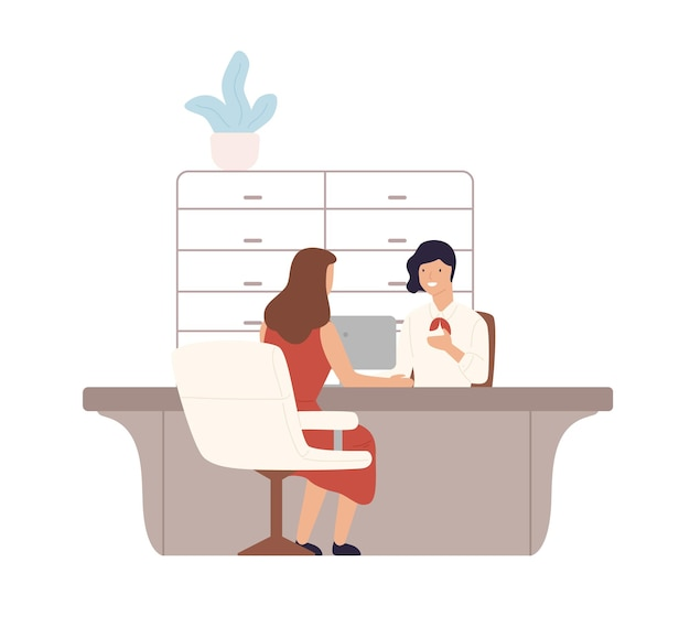 Bancária simpática prestando serviços para ilustração de planos de clientes