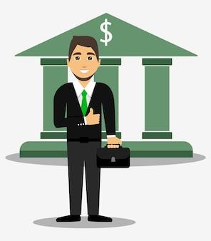 Bancário. banqueiro. homem de negocios. financeiro. caixa. estilo simples.