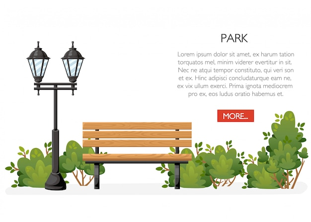 Banco com arbustos e lanterna. estilo de desenho animado. conceito de parque. ilustração em fundo branco. página do site e aplicativo móvel