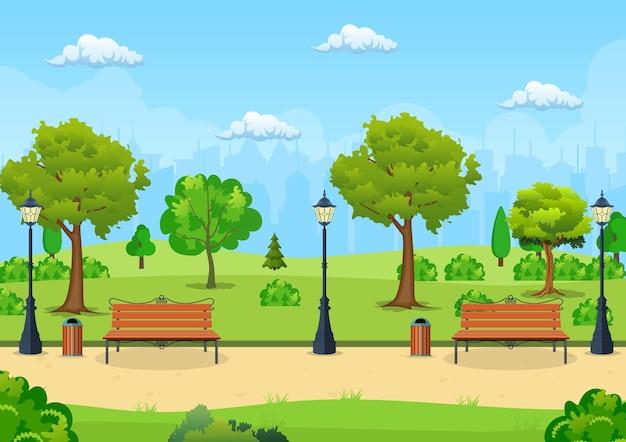 Banco com árvore e lanterna no parque.