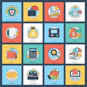 Banco criativo e conjunto de ícones de finanças