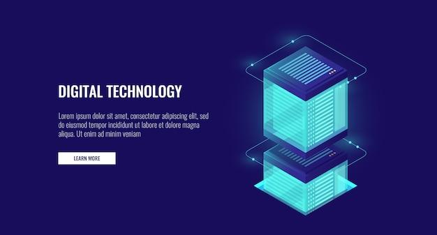 Banco de dados de armazenamento em nuvem isométrico, sala de servidores, processamento de informações de dados pessoais