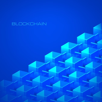 Banco de dados de cadeia de blocos do conceito de tecnologia blockchain