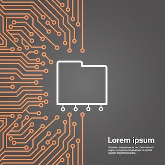 Banco de dados, sobre, chip computador, fundo moterboard, fundo, centro dados, sistema, conceito, bandeira