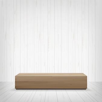 Banco de madeira no espaço da sala.