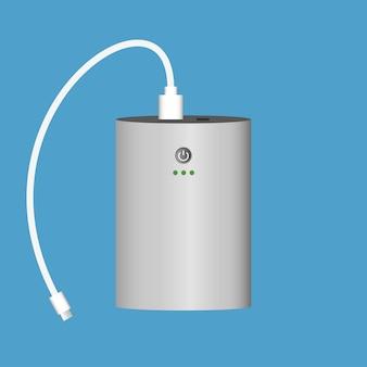 Banco de potência com cabo usb. dispositivo carregador portátil. ilustração vetorial.