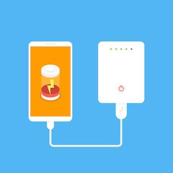 Banco de potência conectado ao smartphone por cabo usb