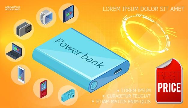 Banco de potência isométrica modelo de dispositivo de carregamento com carregador portátil smartwatches câmera portátil móvel áudio player em fundo laranja