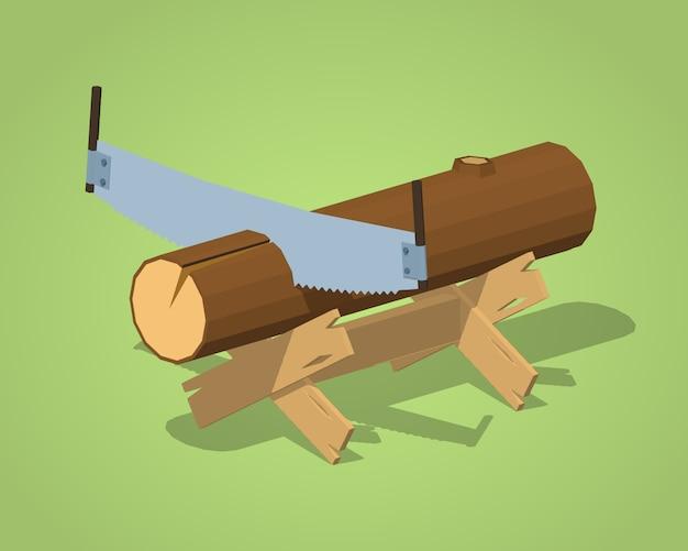 Banco de trabalho isométrico 3d com o log e handsaw