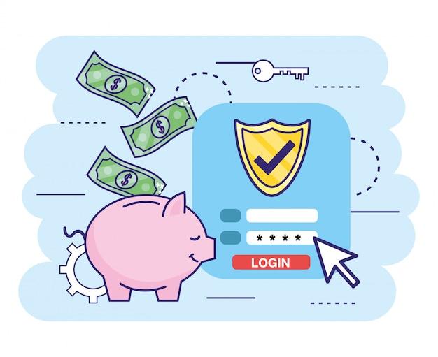 Banco digital com senha de segurança e contas