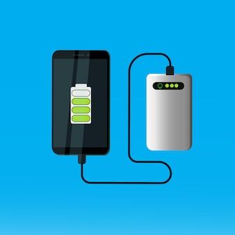 Banco do poder que carrega o conceito móvel portátil da bateria do telefone esperto