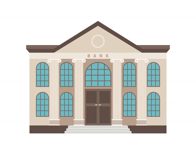 Banco dos desenhos animados colorido edifício plano