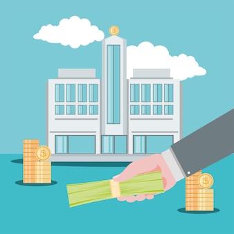 Banco e dinheiro do empresário