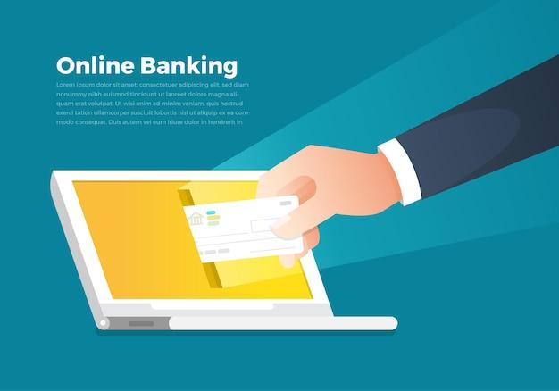 Banco e dinheiro on-line do conceito de ilustrações. segure o dinheiro na tela do notebook