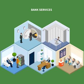 Banco isométrico com imagens interiores conceituais representando diferentes tipos de acomodações bancárias com ilustração vetorial de personagens humanos