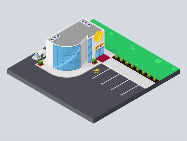Banco isométrico edifício moderno banco com estacionamento e caminhão cashintransit