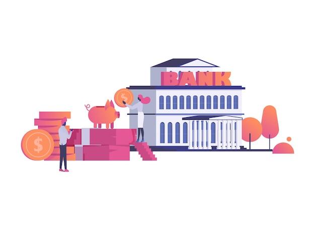 Banco moderno conceito que constrói instituição financeira