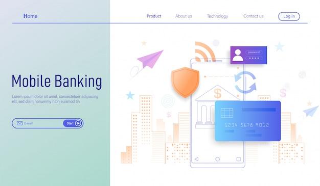 Banco móvel, pagamento online e proteção de dinheiro em transações com smartphones