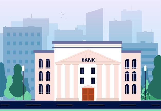 Banco na cidade. paisagem urbana de negócios com vetor de centro financeiro de consultoria de escritório de edifício de banco. banco de escritório financeiro, edifício comercial federal, ilustração externa de banco financeiro Vetor Premium
