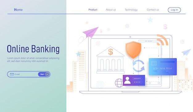 Banco on-line através de smartphone e laptop
