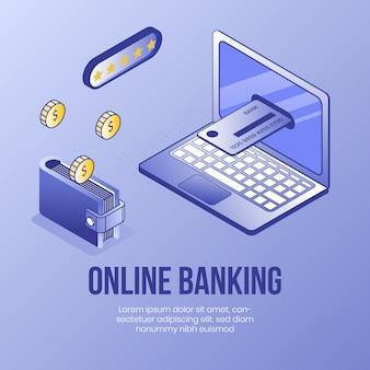 Banco on-line. conceito de design isométrico digital