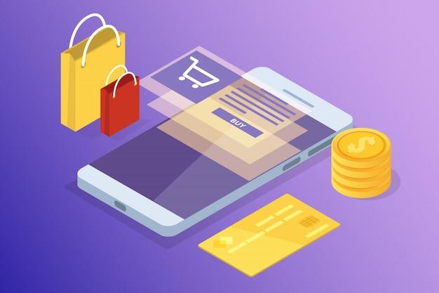 Banco on-line e shoping, pagamentos móveis, conceito isométrico de transferência de dinheiro. ilustração.