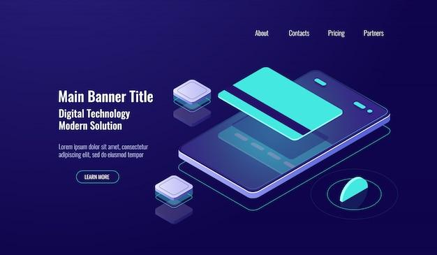 Banco on-line, pagamento celular, ícone isométrica, cartão de crédito, conceito de transferência de dinheiro, néon escuro