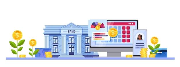 Banco online ou conceito de finanças de conta de dinheiro virtual com fachada de construção, smartphone, computador.