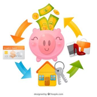Banco piggy feliz para despesas