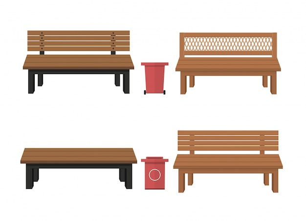 Bancos de madeira ao ar livre com lata de lixo. lata.