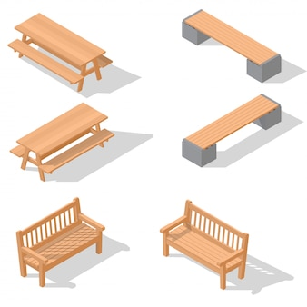 Bancos de madeira e uma mesa