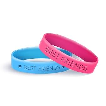 Banda de amizade realista em azul e rosa