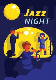 Banda de jazz tocando música em lua cheia