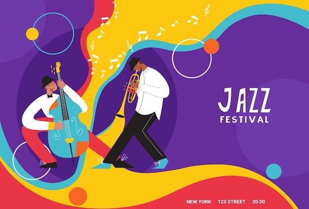 Banda de música ao vivo tocando saxofone, trombone, contrabaixo, piano. pessoas tocando instrumentos musicais.